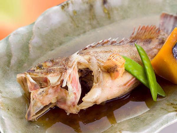 季節のお魚、甘エビ等のお造り、季節のお魚の油物、炊き合わせ等、地元丹後の魚をふんだんに