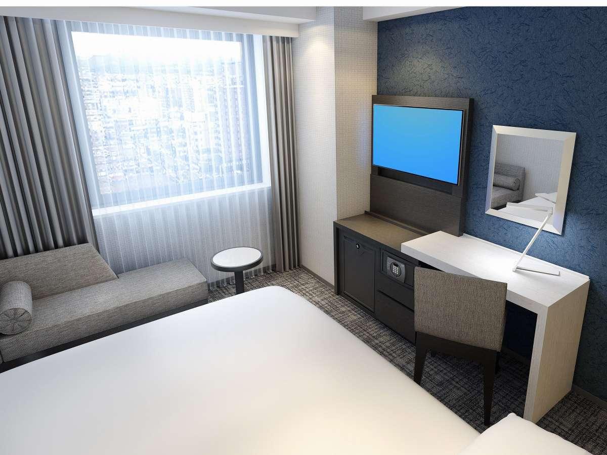 【ダブルルーム】  150cm幅のベッドで心地よい眠りをお約束するダブルルーム。お一人でゆっくり寛ぎたい方やカップルにおすすめの空間です。