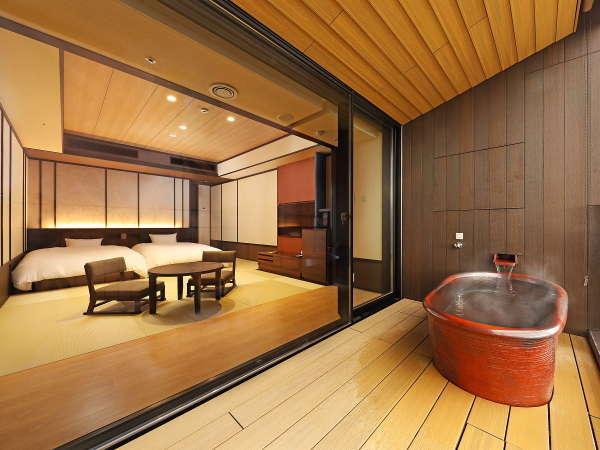 すべての客室信楽焼の温泉露天風呂