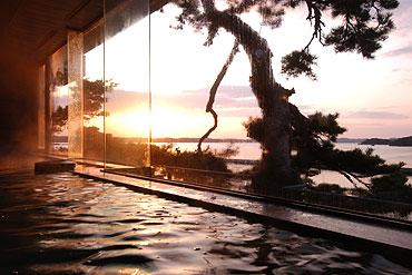 写真:みはらしの湯 夕日