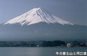 冬の富士山と河口湖