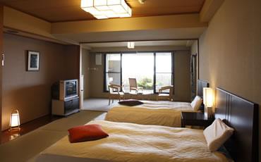 写真:露天風呂付ベット和室