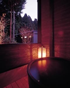 写真:露天風呂付客室の露天風呂