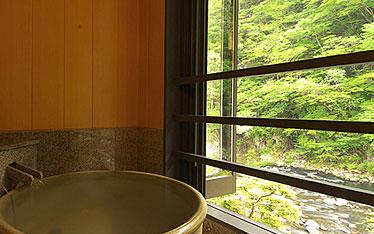 写真:別邸六花|半露天風呂付和洋室「やまぼうし」|半露天風呂