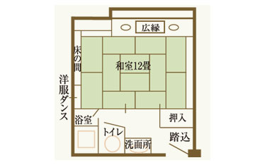 写真: 当館で一番広々とした和室懐かし館