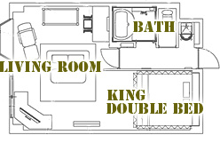 間取り図:セミスイート天蓋付キングダブルベッドルーム