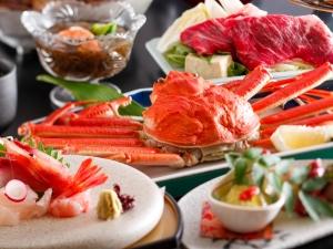 【半個室お食事処でかにと牛を堪能♪】ずわい蟹姿茹で&牛肉料理!当館人気NO1の新かにグルメ会席!