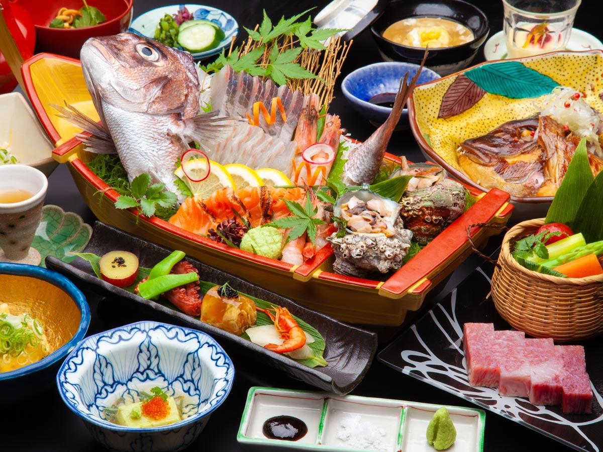 【能登牛×舟盛会席】ここでしか食べられない旨味たっぷりの能登牛をステーキで。人気の舟盛会席と楽しむ♪