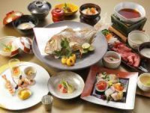 お祝い会席◆焼き鯛と黒毛和牛とろろすき鍋~温泉ギフト