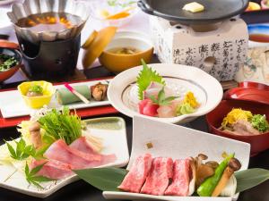 近江牛陶板焼き&金目鯛だし鍋がメインの秋の会席プラン