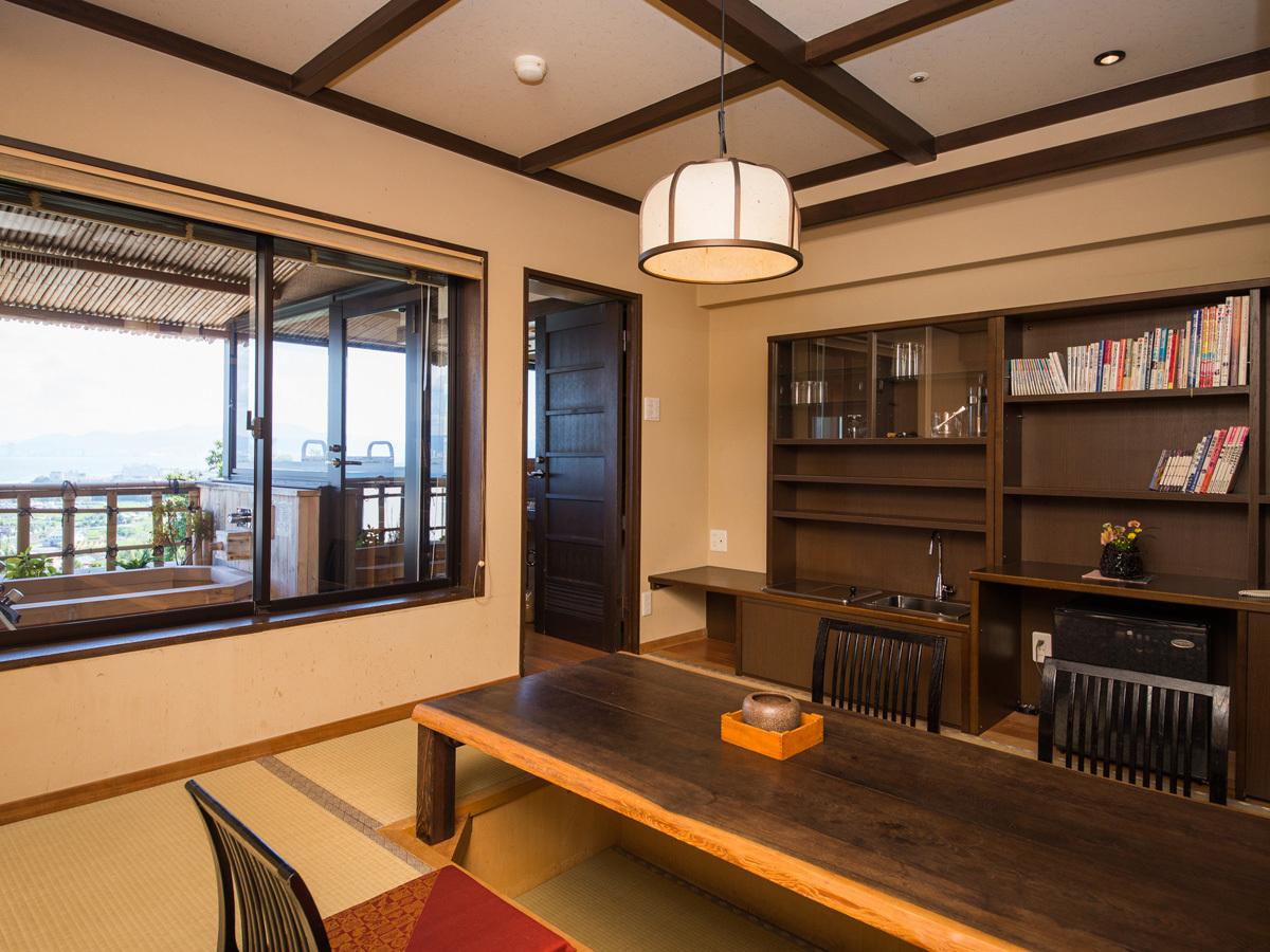 人気の上層階露天風呂付客室「里山」で滋賀の旅を楽しもう!