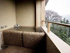 本館「仙石」源泉かけ流しの半露天風呂付洋室 (39.06平米)