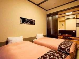 【禁煙】「和洋室」シングルベッド2台+くつろぎ空間◆30㎡