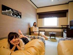 〈禁煙〉畳敷き「和」ツイン◆100cm幅ベッド2台…21.1㎡