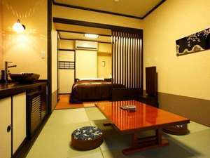 【禁煙】「和洋室」 ダブルサイズベッド+くつろぎ空間◆30㎡