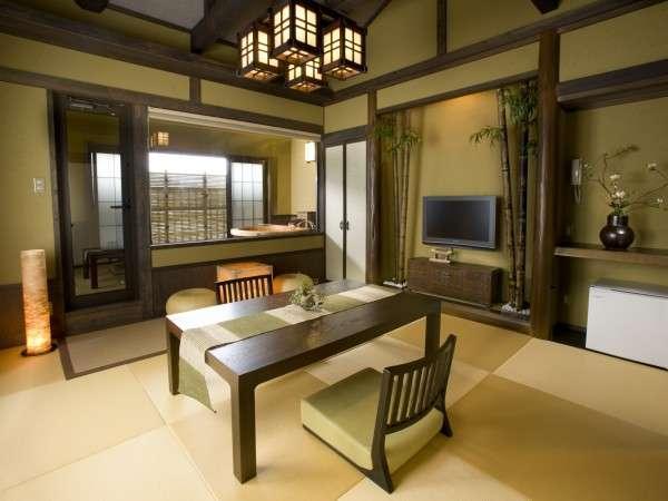 爽やかな若草色~露天風呂付客室「若竹」