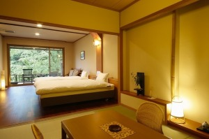 【禁煙室】岩露天風呂+和室6畳+ツインベッド+庭テラス
