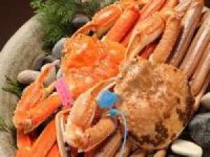 【冬】≪地蟹満足プラン≫タグ付き活松葉蟹をふたりで3杯焼き牡蠣付き ◆お品書きは当日料理長とご相談