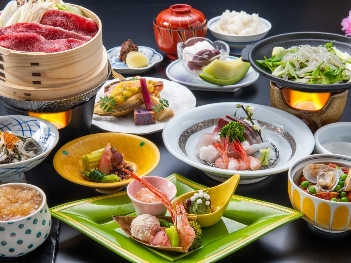 【リーズナブルに夏の温泉旅行を満喫】日本海の海鮮や夏野菜、国産牛はさっぱり蒸ししゃぶで♪ゆもとや会席